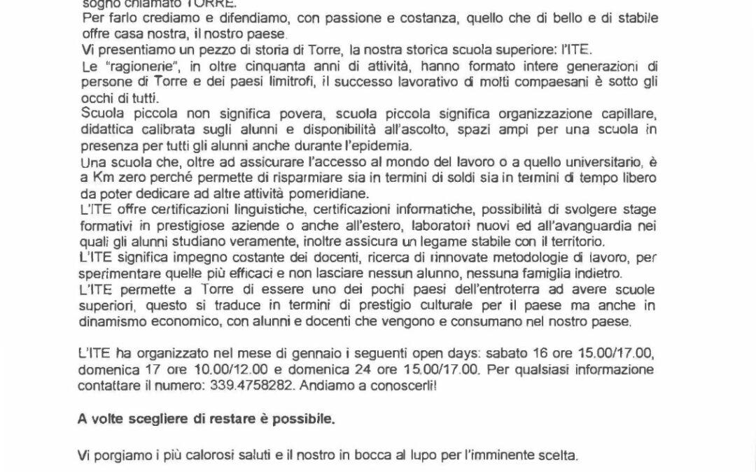 I.T.E di Torre De' Passeri: lettera del Comune di Torre De' Passeri