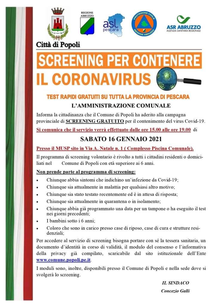 Screening Covid-19 a Popoli 16-01-2021